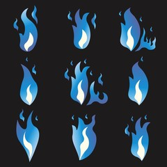 Set of Blue fire animation sprite flames. Cartoon and flat style. Black background. Vector illustration.