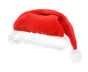 Red holiday hat isolated on white