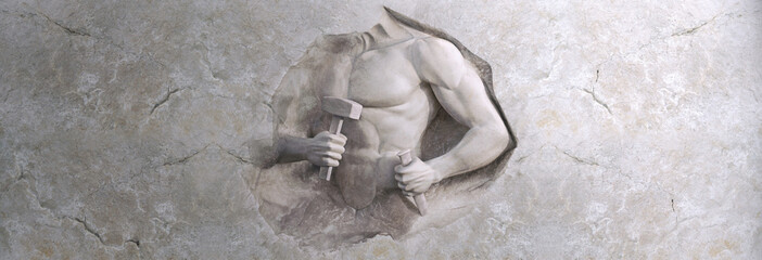 epic background of athletic man cuts his body of marble stone Fototapete