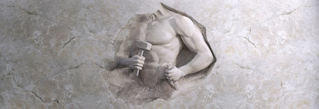 epic background of athletic man cuts his body of marble stone