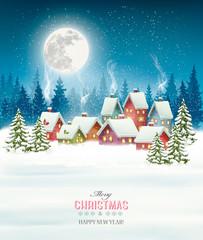 Photo sur Plexiglas Christmas greeting card against snow covered village. Vector