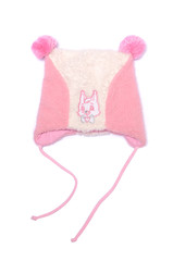 pink baby hat isolated on white