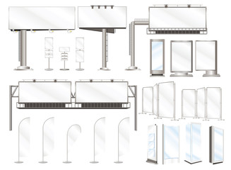 Set vector illustrations of advertising constructions and outdoor billboard