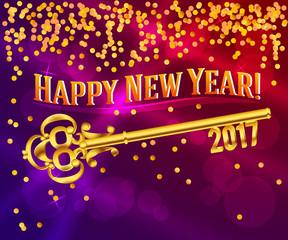 happy new year 2017 gold vintage key confetti