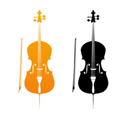 Icons of Cello in golden and black colors - orchestra strings music instrument in vertical pose, Vector Illustration isolated on white background.