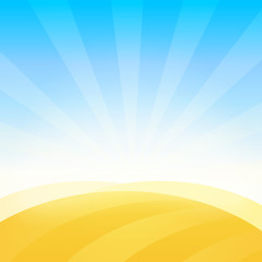 Landscape with Farm Field of Wheat under Blue Daily Sky. Vector Background Pattern.