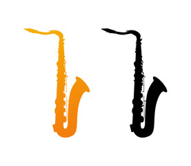 Icon of Saxophone with Black Silhouette isolated on White Background.