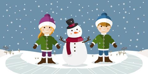 Niños disfrutando de un día de invierno