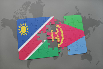 puzzle with the national flag of namibia and eritrea on a world map