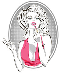 Pin-up fashion beautiful woman applying pink lipstick, pop art girl putting makeup vector