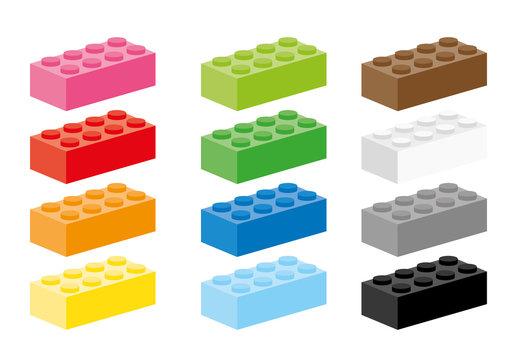 Twelve creative building block in different colors