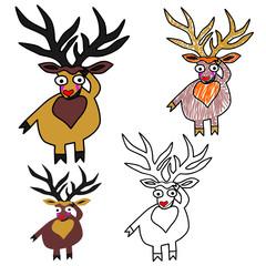 A set of vector Christmas deers. Four cartoon image of a deer