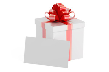 Gift box with a blank card, 3D rendering