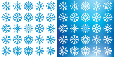 Vector snowflakes mega set on white and blue background, winter icons silhouette, 25 ice stars, vector elements for your Christmas and New Year holiday design projects