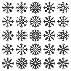 Vector snowflakes set on white background, winter icons silhouette, 25 ice stars, vector elements for your Christmas and New Year holiday design projects