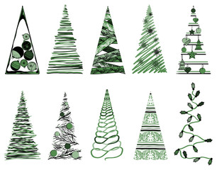 Vector set of Christmas tree with decorations