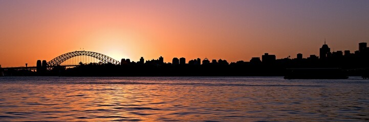 Orange Sunset. Sydney Skyline.
