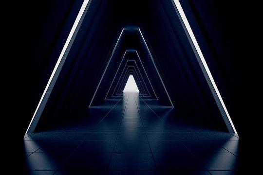 Dark corridor interior