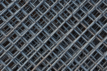 Steel bars reinforcement on construction site, Grid of Steel bar for background