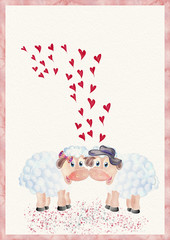Valentine card. Sheep and hearts. Valetnine day concept.