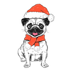 Funny christmas pug dog vector illustration