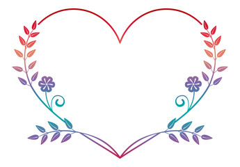 Beautiful heart-shaped flower frame with gradient fill. Color silhouette  frame