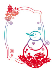 Gradient frame with funny snowman, holly berries and Christmas bells silhouettes