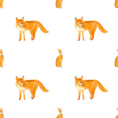 Fox and hare seamless pattern.Forest animals.Watercolor hand drawn illustration.White background.