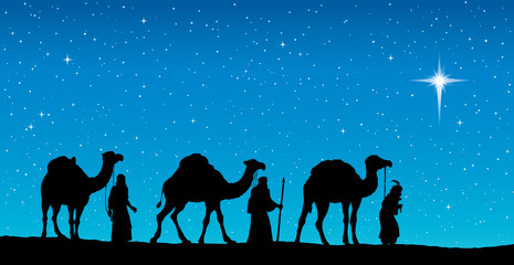 Three Wise kings following Star of Bethlehem. Vector illustratio