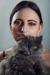 Woman With Cute Persian Cat