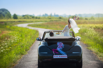 Back view. newlywed going on honeymoon by car on country road