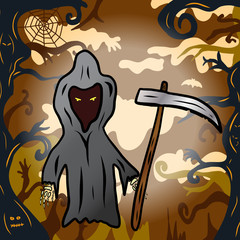 Cartoon grim reaper holding a scythe in a forest