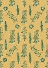 Seamless pattern with hand drawn pine fir branches.