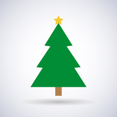 Christmas tree with star and New Year, stylish vector illustration, EPS10
