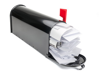 Black Mailbox with Isolated on White Background.