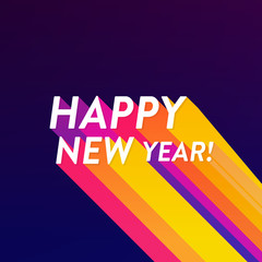 Abstract Happy New Year poster with colored long shadow. Vector