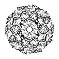 Mandala. Round Ornament Vintage decorative elements. Blak and white.