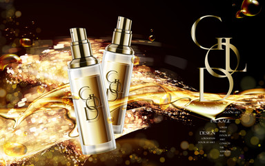 golden cosmetic package design