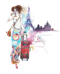 Girl woman young lady young woman on vacation with luggage travelling walking watercolor painting illustration isolated on white background