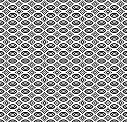 Vector seamless pattern, black & white subtle monochrome ornamental texture. Simple abstract endless mosaic background. Design element for prints, decoration, textile, digital, cover, web, package