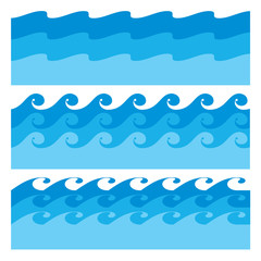 Blue water waves icons set on white background. Vector Illustration