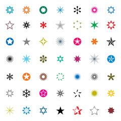 Set of Color Stars. Vector Illustration.