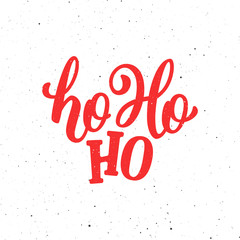 Ho-Ho-Ho Christmas vector greeting card with modern brush lettering. Banner for winter season greetings
