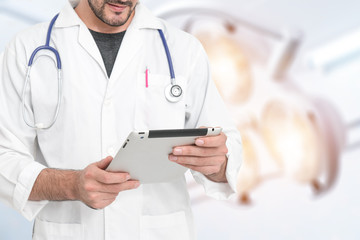 Medicine doctor hand working with modern computer interface as m