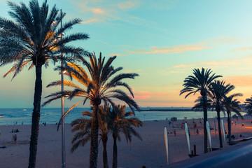 Barcelona waterfront at dusk