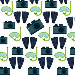 photo camera flippers snorkel mask seamless pattern design vector illustration eps 10
