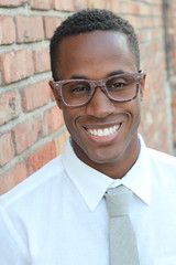 African American man wearing glasses portrait