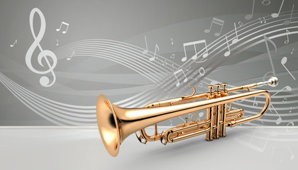 Trumpet with music notes banner