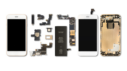Smartphone components isolate on white Wall mural