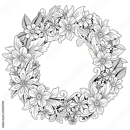 Wreath Of Flowers And Leaves Floral Frame Doodle Art Coloring Page